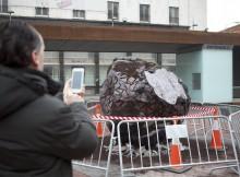 Un viandante fotografía en el centro de Soria la trufa negra más grande del mundo.